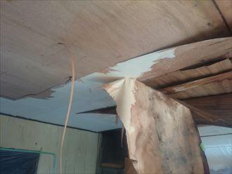 雨漏りにより崩れた天井