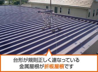 台形が規則正しく連なっている金属屋根が折板屋根です