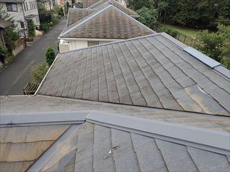 市川市塩焼で行ったコロニアル屋根の調査で屋根材の滑落