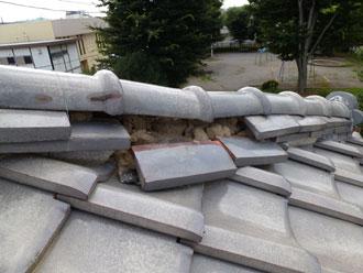 棟崩れ、棟漆喰取り直し工事|千葉市花見川区