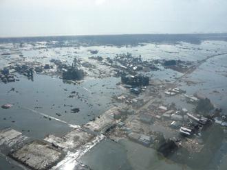 津波に襲われた被災地