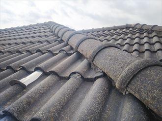 野田市山崎で行った瓦屋根の調査で隅棟の釘の浮き