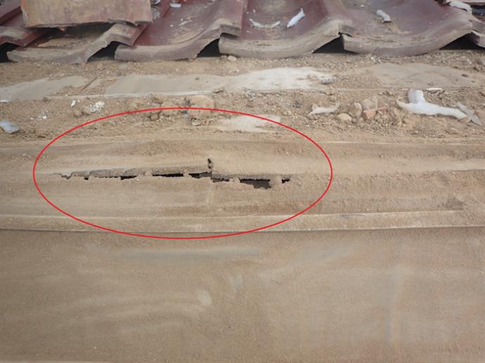 防水紙の穴確認