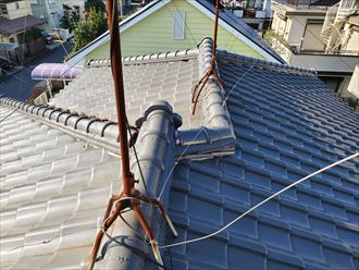 流山市若葉台で漆喰が剝がれた瓦屋根調査