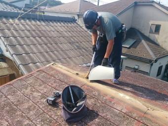 棟板金の撤去と掃除