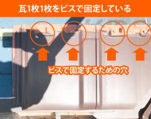 防災瓦の固定方法
