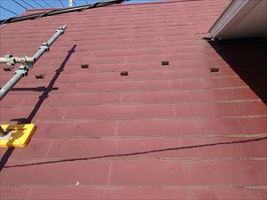 雪止め設置前のスレート屋根