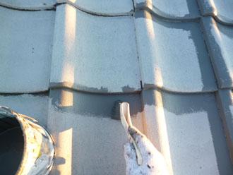 印旛郡栄町 セメント瓦塗装 中塗り マイティシリコン