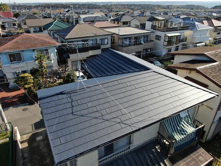 スーパーガルテクトで屋根葺き替え工事