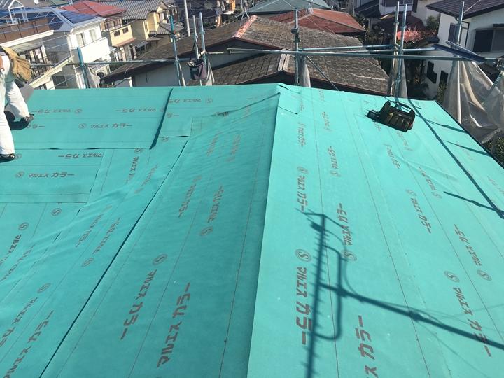 防水紙の敷設完了