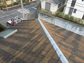 スレート屋根の調査を実施、苔やカビ
