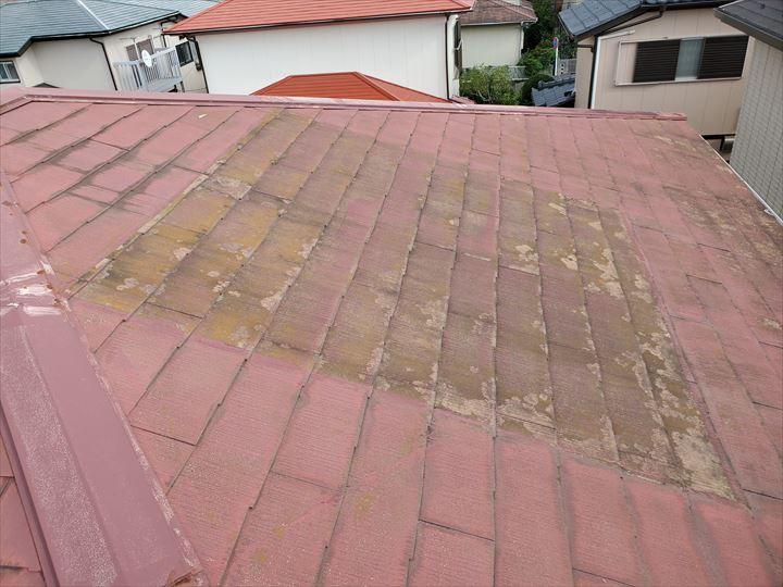 鎌ケ谷市丸山にてスレート屋根に苔が発生