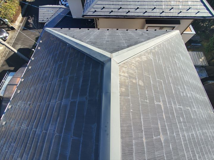 柏市豊四季で塗装が剥がれたスレート屋根調査