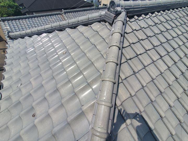 柏市大井で漆喰が剥がれた瓦屋根の調査