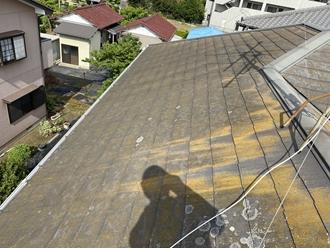 苔カビのスレート屋根