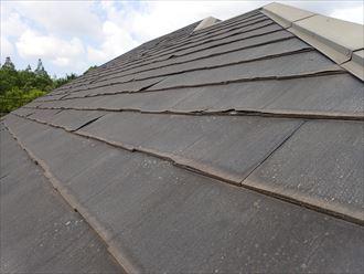 屋根全体に屋根材の剥がれが見られます