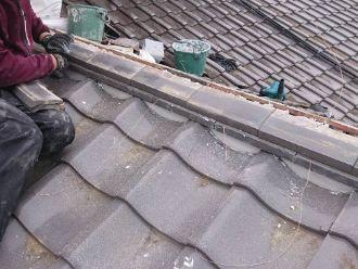 1階屋根のし瓦積み