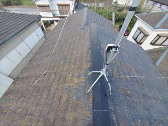 柏市増尾にて防水性が低下し苔・藻・カビが発生しているスレート屋根