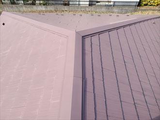 船橋市夏見にて色褪せているスレート屋根調査