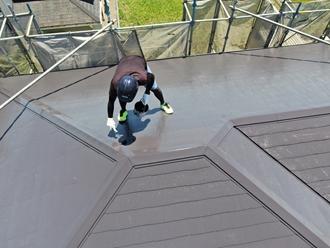 ドローン撮影、屋根塗装工事
