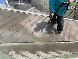 高圧洗浄、スレート屋根の苔