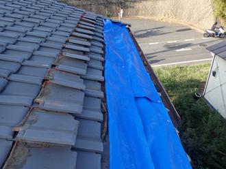 台風15号によって被災してしまった瓦屋根の養生を行いました