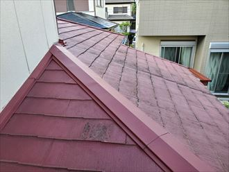 下屋根の調査の様子