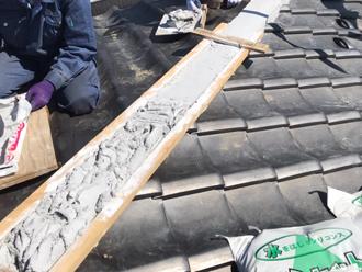 棟瓦取り直し工事 土台作り
