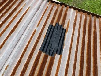 トタン屋根、養生