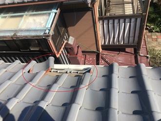 軒先瓦の落下、台風被害