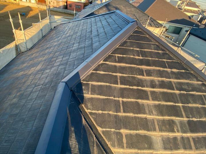 令和元年房総半島台風の影響で棟板金が被害を受けたスレート屋根の棟板金交換工事が完了