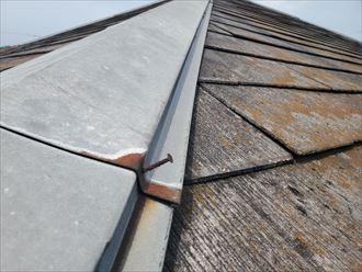 棟板金の釘が浮いており錆びています