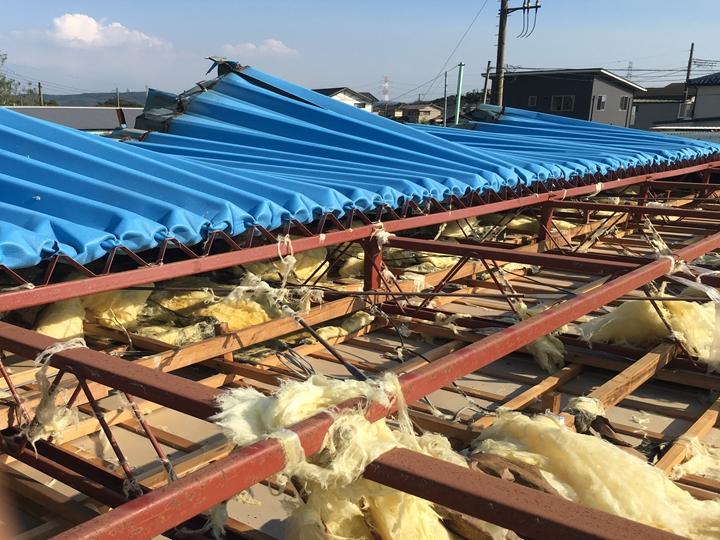 折半屋根の台風被害
