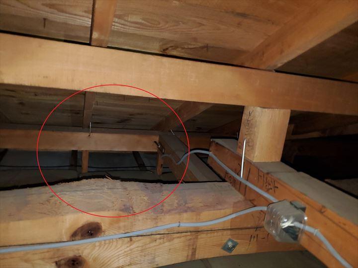 小屋裏の雨漏りの調査の様子