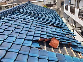 令和元年房総半島台風の影響で瓦が剥がれてしまいました