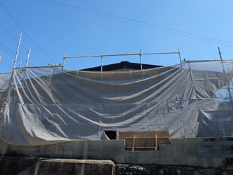 屋根葺き替え工事 足場