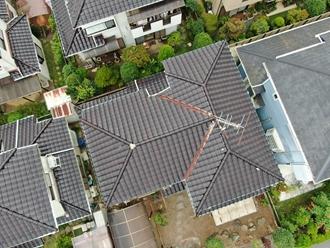 大屋根の棟取り直し工事