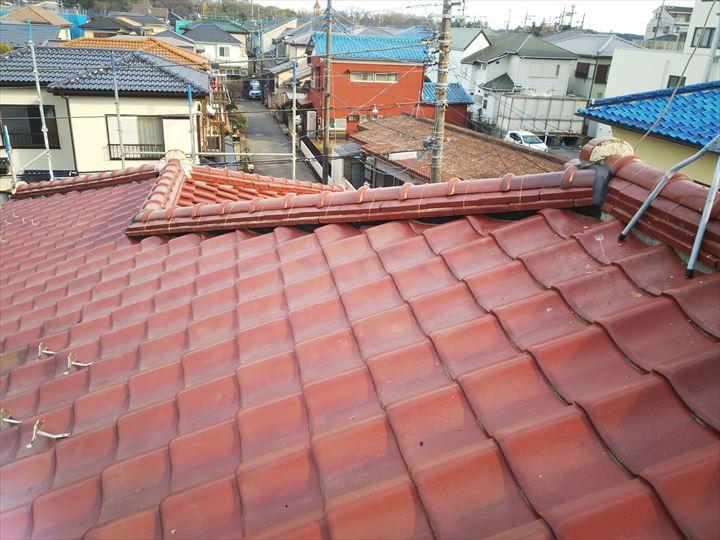 令和元年房総半島台風の影響でのし瓦が外れた隅棟の棟取り直し工事完了