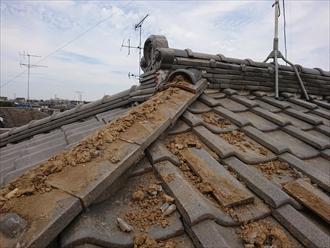 葺き土が使用された棟