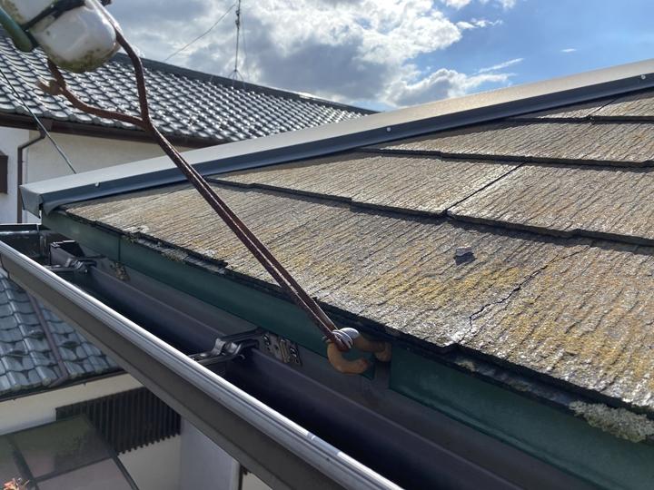 スレート屋根の調査、割ヒビ割れ