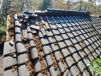 令和元年房総半島台風の影響で棟や鬼瓦が崩れてしまいました