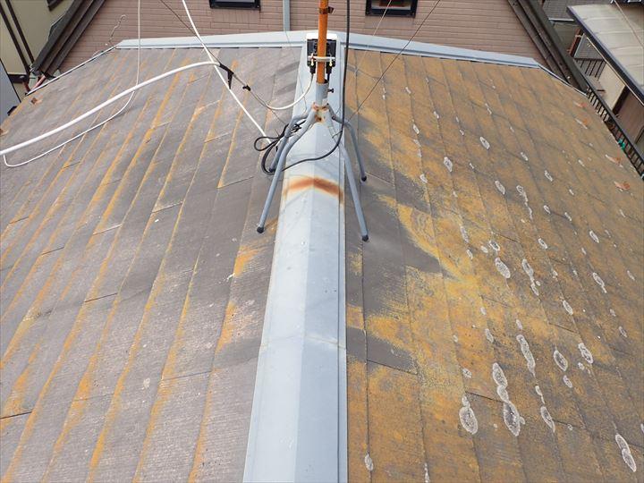 千葉市中央区にて防水性が低下したスレート屋根の調査の様子