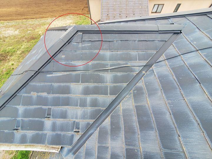 千葉市緑区にて行ったスレート屋根調査でスレートがずれています