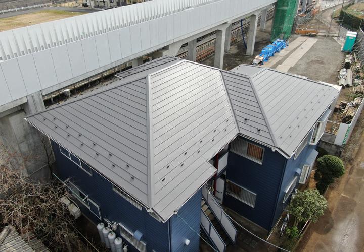 屋根カバー工事後、ドローンで撮影