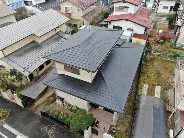 屋根カバー工事完了、ドローン撮影
