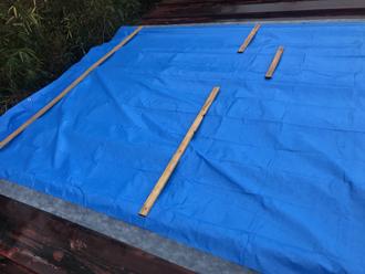 トタン屋根の飛散箇所にはブルーシートが掛かっていました