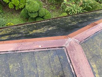 台風被害を免れた棟板金にも著しい劣化が見られます