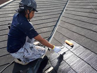 化粧スレート屋根下塗り