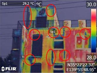 南面外壁の赤外線カメラ