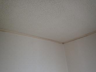 瓦屋根からの雨漏りで室内にはシミができています